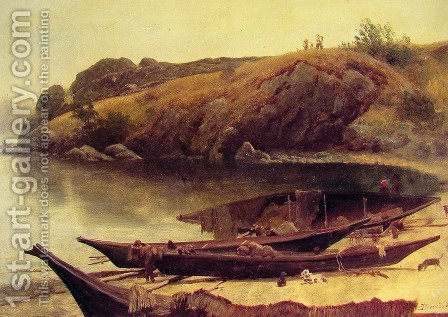 Canoes by Albert Bierstadt - Reproduction Oil Painting