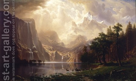 Albert Bierstadt: Among The Sierra Nevada Mountains  California - reproduction oil painting
