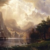 Oil painting reproductions - Hudson River School - Albert Bierstadt: Among The Sierra Nevada Mountains  California