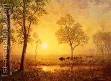 Sunset On The Mountain by Albert Bierstadt - Reproduction Oil Painting