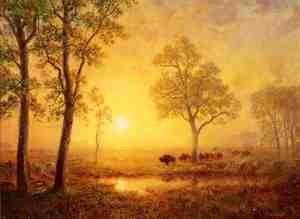 Reproduction oil paintings - Albert Bierstadt - Sunset On The Mountain