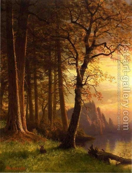 Sunset In California   Yosemite by Albert Bierstadt - Reproduction Oil Painting