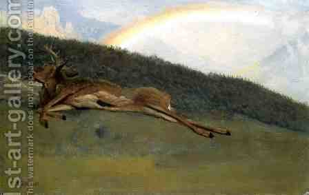 Rainbow Over A Fallen Stag by Albert Bierstadt - Reproduction Oil Painting
