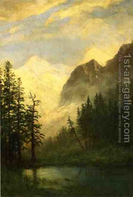 Moonlit Landscape by Albert Bierstadt - Reproduction Oil Painting