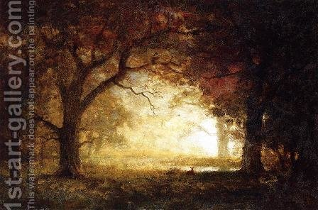 Forest Sunrise by Albert Bierstadt - Reproduction Oil Painting