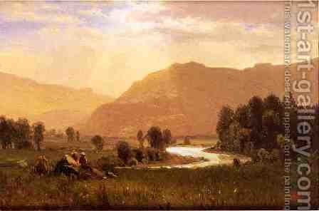 Figures In A Hudson River Landscape by Albert Bierstadt - Reproduction Oil Painting