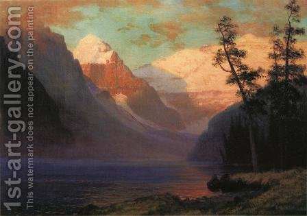 Evening Glow  Lake Louise by Albert Bierstadt - Reproduction Oil Painting