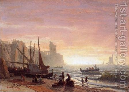 The Fishing Fleet by Albert Bierstadt - Reproduction Oil Painting