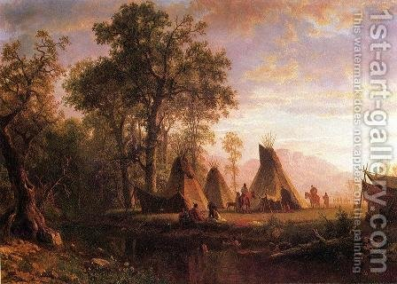Albert Bierstadt: Indian Encampment  Late Afternoon - reproduction oil painting