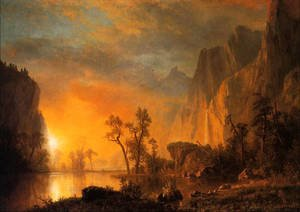 Famous paintings of Trees: Sunset In The Rockies