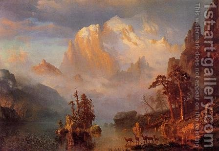 Rocky Mountains by Albert Bierstadt - Reproduction Oil Painting