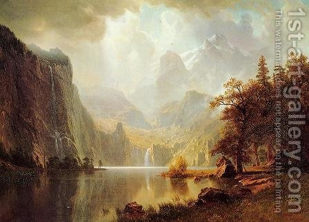 In The Mountains by Albert Bierstadt - Reproduction Oil Painting