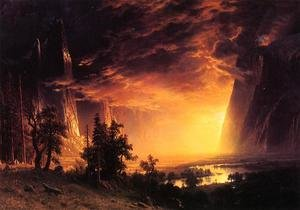 Reproduction oil paintings - Albert Bierstadt - Sunset In The Yosemite Valley