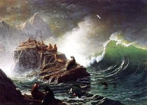 Reproduction oil paintings - Albert Bierstadt - Seals On The Rocks  Farallon Islands