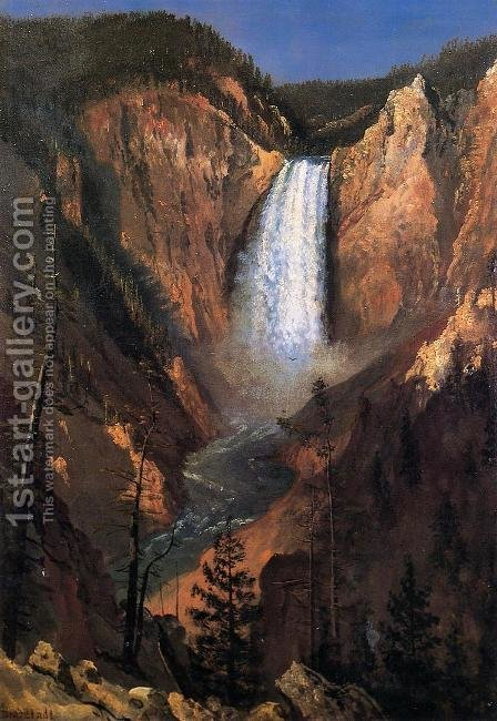 Lower Yellowstone Falls by Albert Bierstadt - Reproduction Oil Painting