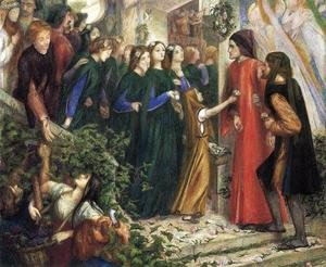 Pre-Raphaelites painting reproductions: Beatrice  Meeting Dante At A Wedding Feast  Denies Him Her Salutation