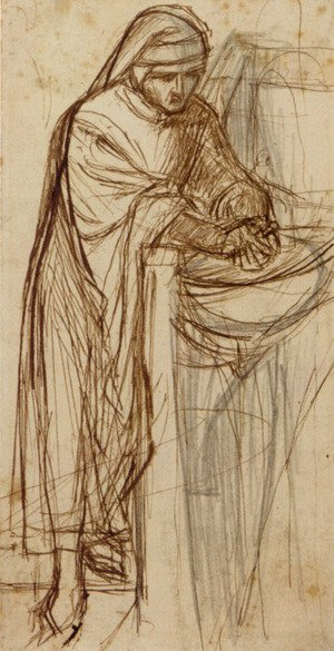 Pre-Raphaelites painting reproductions: Sketch For Dante At Verona  With A Preliminary Study For The Principal Figure