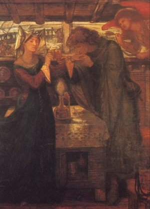 Pre-Raphaelites painting reproductions: Tristram And Isolde Drinking The Love Potion