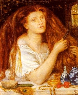Pre-Raphaelites painting reproductions: Woman Combing Her Hair