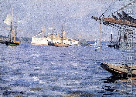 The Battleship Baltimore In Stockholm Harbor by Anders Zorn - Reproduction Oil Painting