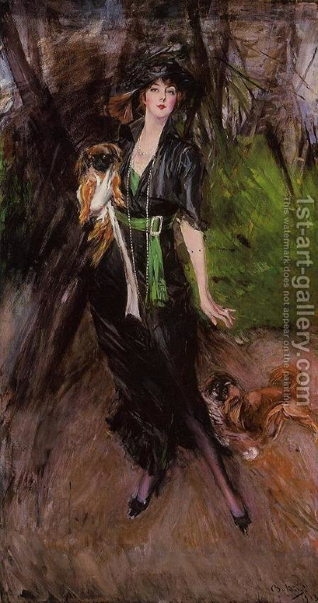 Portrait Of A Lady  Lina Bilitis  With Two Pekinese by Giovanni Boldini - Reproduction Oil Painting