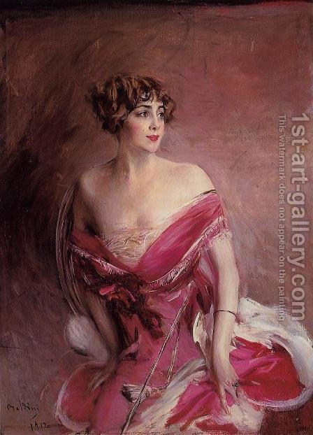 Portrait Of Mlle De Gillespie  La Dame De Biarritz by Giovanni Boldini - Reproduction Oil Painting