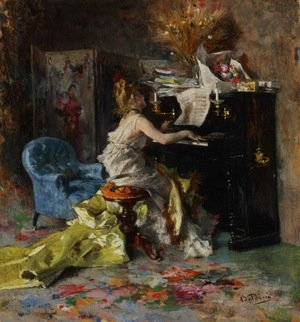 Famous paintings of Furniture: Woman At A Piano
