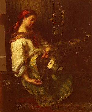 Realism painting reproductions: Couseuse Endormie