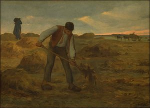 Realism painting reproductions: Peasand Spreading Manure