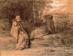 Realism painting reproductions: Shepherdesses Seated In The Shade