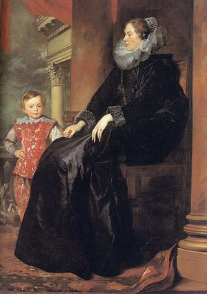 Reproduction oil paintings - Sir Anthony Van Dyck - Genoese Noblewoman with her Son 1626