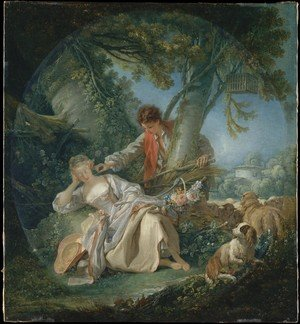 Rococo painting reproductions: The Interrupted Sleep 1750