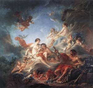 Rococo painting reproductions: Vulcan Presenting Venus with Arms for Aeneas 1757