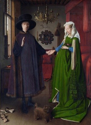 Famous paintings of Portraits: Portrait of Giovanni Arnolfini and his Wife 1434
