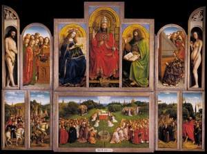 Renaissance - Northern painting reproductions: The Ghent Altarpiece (wings open) 1432
