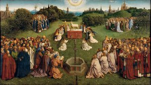 Famous paintings of Religion & Philosophy: The Ghent Altarpiece- Adoration of the Lamb 1425-29