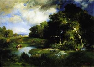 Reproduction oil paintings - Thomas Moran - A Pastoral Landscape