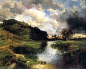 Reproduction oil paintings - Thomas Moran - Cloudy Day At Amagansett