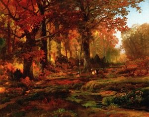 Reproduction oil paintings - Thomas Moran - Cresheim Glen  Wissahickon  Autumn