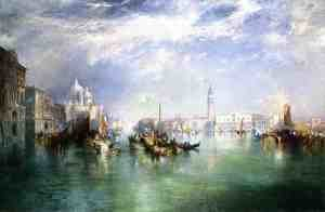Famous paintings of Ships & Boats: Entrance To The Grand Canal  Venice2