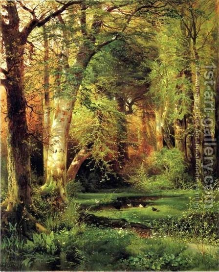 Forest Scene by Thomas Moran - Reproduction Oil Painting