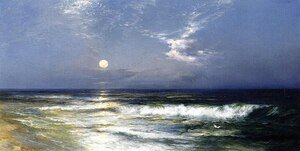 Famous paintings of Storms & Rough Water: Moonlit Seascape2