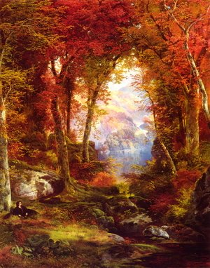Reproduction oil paintings - Thomas Moran - The Autumnal Woods (Under The Trees)