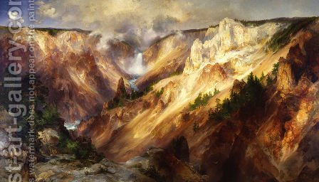 The Grand Canyon Of The Yellowstone by Thomas Moran - Reproduction Oil Painting