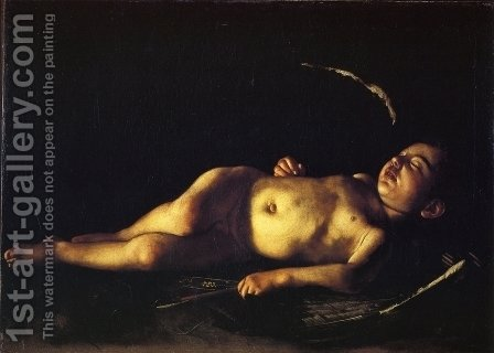 Caravaggio: Sleeping Cupid 1608 - reproduction oil painting
