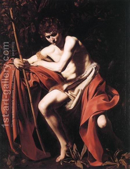 Caravaggio: St. John the Baptist c. 1604 - reproduction oil painting