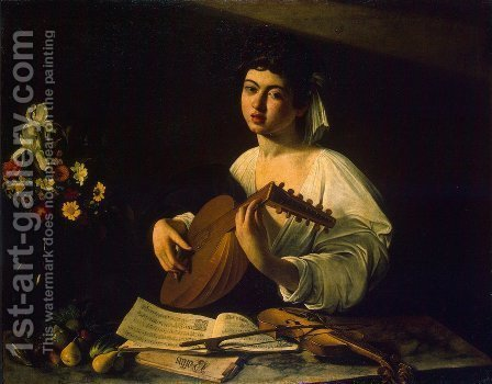 Caravaggio: The Lute Player c. 1600 - reproduction oil painting