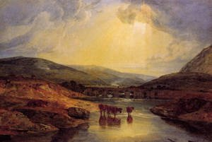 Reproduction oil paintings - Turner - Abergavenny Bridge  Monmountshire  Clearing Up After A Showery Day