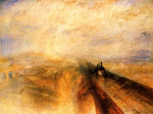 Famous paintings of Transportation: Rain, Steam and Speed The Great Western Railway  1844