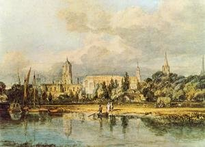 Famous Paintings in Ashmolean Museum, Oxford, UK: South View Of Christ Church  Etc   From The Meadows